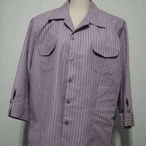 Vintage Dress Barn Woman Purple Stripe Blouse 1X